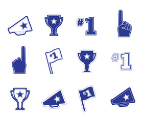 Set of sports fan icons in blue on a white background. Signs and symbols in vector format. Go Team logo text.