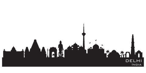 Wall Mural - Delhi India city skyline vector silhouette