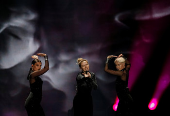 "Armenia's Artsvik performs with the song ""Fly With Me"" during the Eurovision Song Contest 2017 Grand Final Dress rehearsal 1 at the International Exhibition Centre in Kiev"