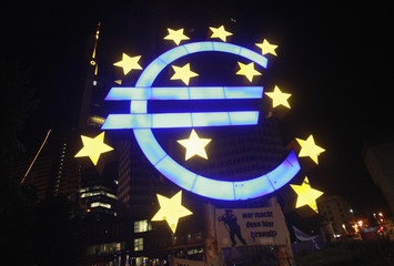 Sculpture showing the Euro currency sign is seen in front of the ECB headquarters in Frankfurt