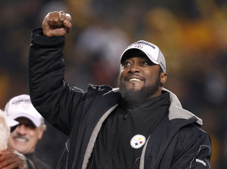 Steelers head coach Tomlin celebrates after defeating the New York Jets in the NFL AFC Championship football game in Pittsburgh