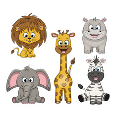 Set of different cute wild animals