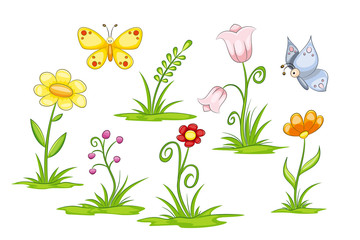 Set of different flowers and butterflies