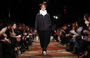 A model presents a creation at the Y-3 Fall/Winter 2012 collection during New York Fashion Week