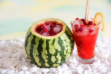 Cocktail in the watermelon, fresh smoothie. A refreshing summer drink.