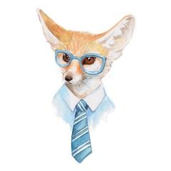Cool fox. Watercolor illustration 1