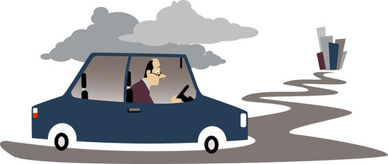 Depressed man driving to a city in his car, EPS 8 vector illustration