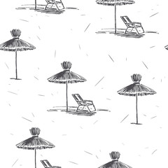 Vector seamless pattern with beach umbrellas. Vintage hand drawn illustration of  straw sunshades on sea coast. Summer vacation texture in sketch style
