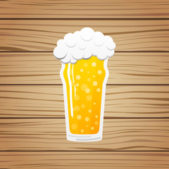 Pint -  glass of beer on wooden background. Vector.