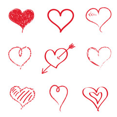 Collection of hand drawn hearts on white background. Vector.