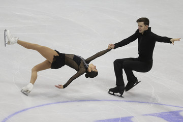 Marchei and Hotarek of Italy perform during the pairs short program at the ISU European Figure Skating Championship in Bratislava