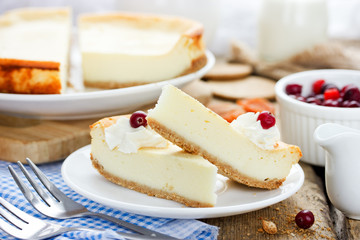 Slice of delicious cheesecake with whipped cream and berry