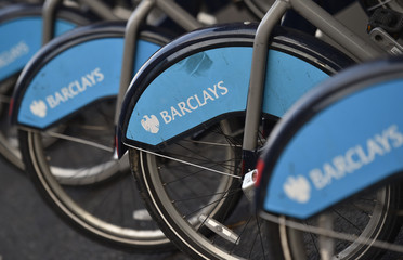 The Barclays logo is seen on public hire bicycles in central London