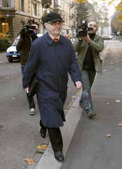 Former Swiss private banker Elmer arrives before a hearing of an appeal at the high court in Zurich