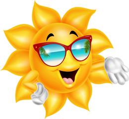 Cartoon cartoon sun character wearing sunglasses