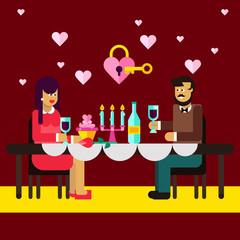 Romantic dinner of lovely couple