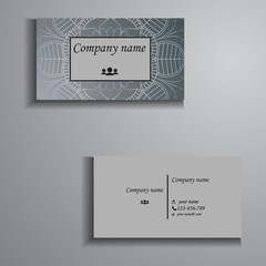 visiting card and business card big set. Floral mandala pattern and ornaments. Oriental design Layout, ottoman motifs. Front page and back page.