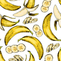 Vector hand drawn seamless pattern of isolated banana. Engraved colored art. Delicicous tropical vegetarian objects.