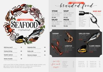 Vector hand drawn seafood menu template. colored Lobster, salmon, crab, shrimp, octopus, squid, clams.Engraved art.