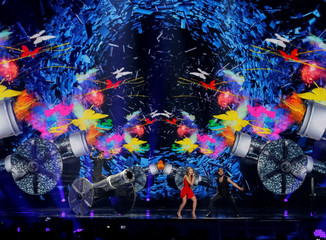"Romania's Ilinca ft. Alex Florea perform with the song ""Yodel It!"" during the Eurovision Song Contest 2017 Grand Final Dress rehearsal 1 at the International Exhibition Centre in Kiev"