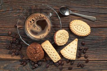 Coffee and various cookies