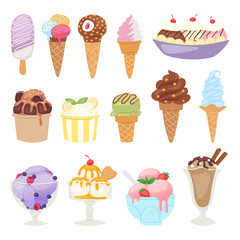 Set of different ice cream isolatedon white background cartoon dessert vector illustration