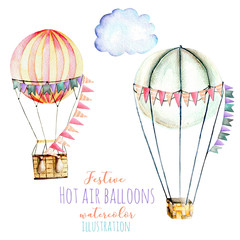 Illustration with watercolor hot air balloons with flags, hand drawn isolated on a white background, carousels