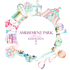 Circle frame with watercolor elements of amusement park, hand drawn isolated on a white background, can be used for the logo, banner
