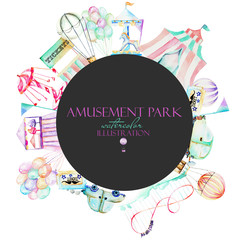 Circle frame with watercolor elements of amusement park, hand drawn isolated on a white and dark background, can be used for the logo, banner