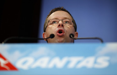 Qantas CEO Joyce talks during a news conference in Sydney