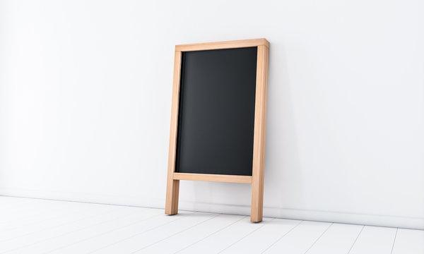 Wooden Menu Board Mockup near white wall, easel,  3d rendering