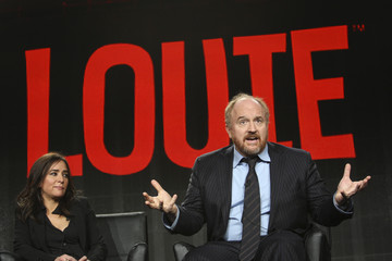 """Cast members Pamela Adlon and Louis C.K. participate in the """"Louie"""" panel at the Television Critics Association (TCA) Winter Press Tour in Pasadena, California"""