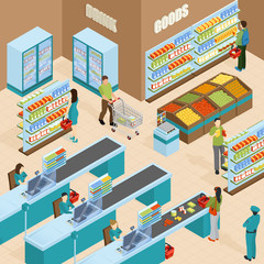 Supermarket Isometric Design Concept