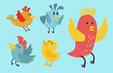 Cute birds vector set illustration cartoon colorful