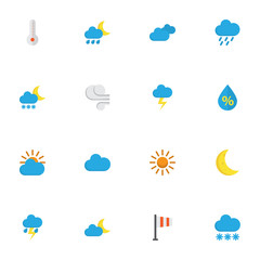Nature Flat Icons Set. Collection Of Snow, Banner, Storm And Other Elements. Also Includes Symbols Such As Drip, Cloud, Sunny.