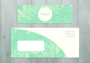 Stationery Set with Leaf Illustration