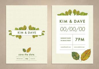 Autumn Leaf Wedding Invitation Layout