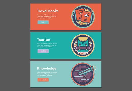 Three Illustrated Travel Web Banners