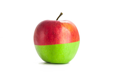 Green and red apple on a white background. Isolated apple. Ripe Fruit. No to racism
