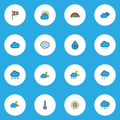 Weather Colorful Outline Icons Set. Collection Of Cloudy Day, Flag, Tempest And Other Elements. Also Includes Symbols Such As Nimbus, Clouded, Snow.