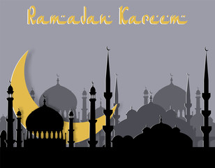 Ramadan Kareem. Greeting card. Stylized drawing of the month and the silhouette of the eastern city. Cut from paper. illustration