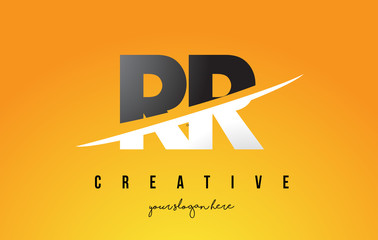 RR R Letter Modern Logo Design with Yellow Background and Swoosh.