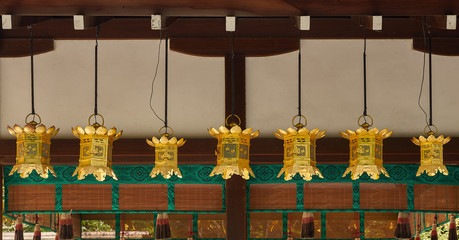Golden Japanese shrine lanterns