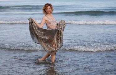 Italian actress Sonia Bergamasco poses ahead of the 73rd Venice Film Festival in Venice