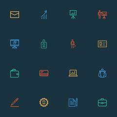 Business Outline Icons Set. Collection Of Manager, Identification, Contract Signing And Other Elements. Also Includes Symbols Such As Briefcase, Letter, Id.