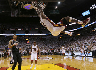 Miami's LeBron James slam dunks against the San Antonio Spurs during Game 2 of the NBA Finals in Miami