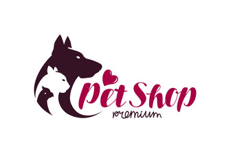 Pet shop logo. Animals cat, dog, parrot icon. Vector illustration