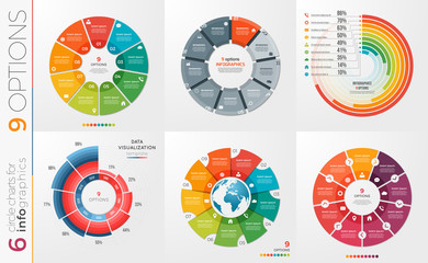 Collection of 6 vector circle chart templates 9 options.