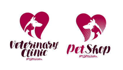Pet shop, veterinary clinic logo. Animals, dog, cat, parrot icon or symbol. Label vector illustration