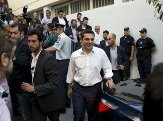 Former Greek prime minister and leader of leftist Syriza party Alexis Tsipras leaves a polling station after voting in general election in Athens